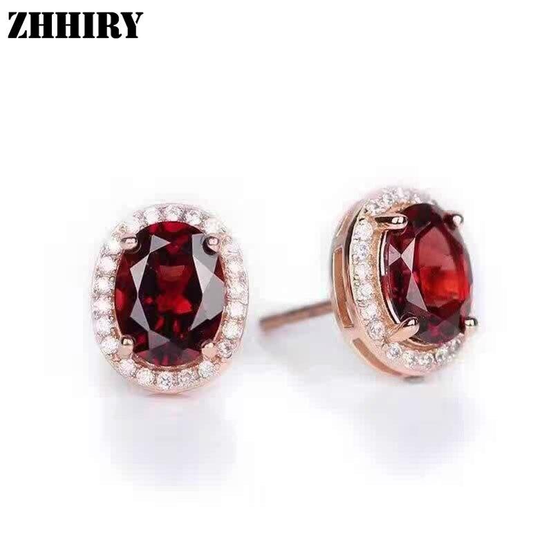 ZHHIRY véritable grenat boucle d'oreille pierre naturelle solide 925 en argent Sterling femmes boucles d'oreilles bijoux fins pierre de naissance