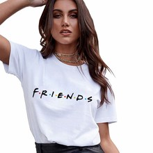 Friends Tv Blouses Women Harajuku Short Sleeve White Print L