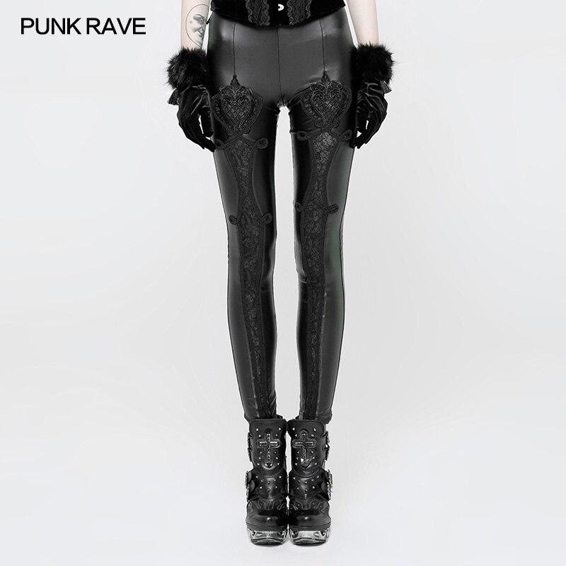 Steampunk rojo De Sexy En Encaje Club Fas Mujeres Relieve Rave Gótico Pantalones Negro Malla Leggings Vintage Cuero Fiesta Punk U1AEgqW