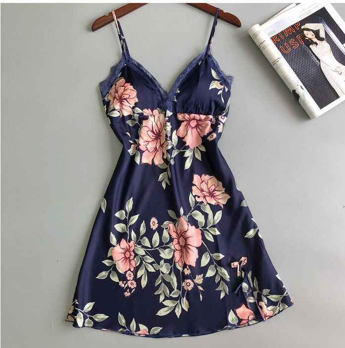 Sexy Women's Floral Satin Silk Lace Pajamas Nightdress Sleepwear Sling Flower Sleeveless V Neck Dresses Women Comfort Clothes