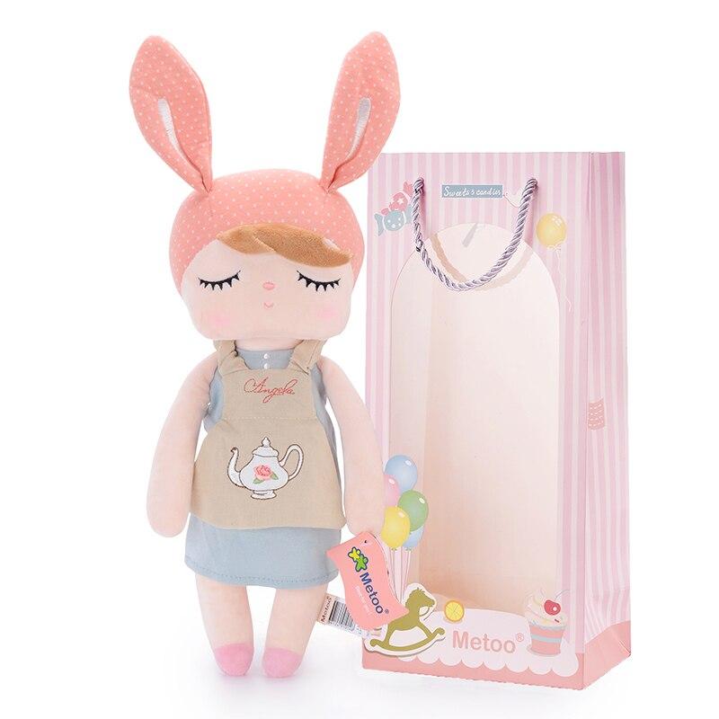 METOO Dolls Plush Toys Bunny Rag Girl Doll Wear Pattern Skirt Soft Stuffed Toys Gift For Kids Children 13*5