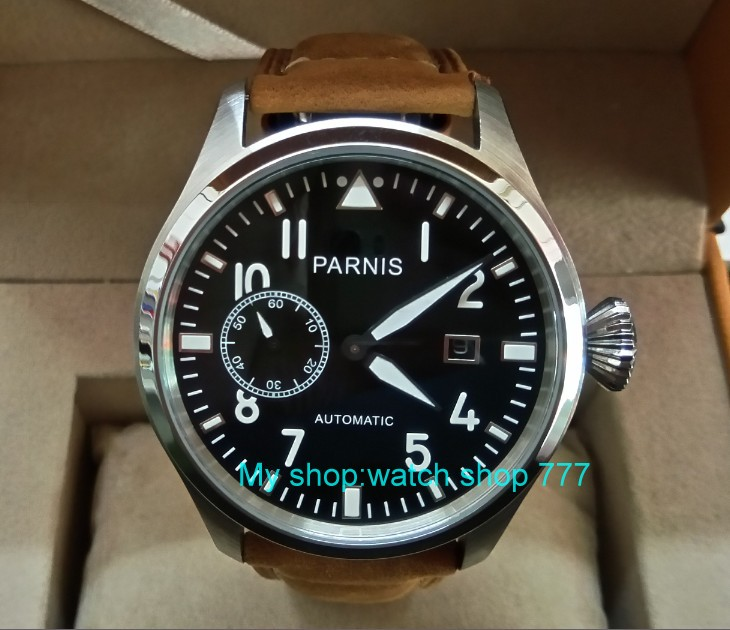 47mm big pilot PARNIS Black dial Automatic Self-Wind movement Auto Date men watches luminous Mechanical watches df134A