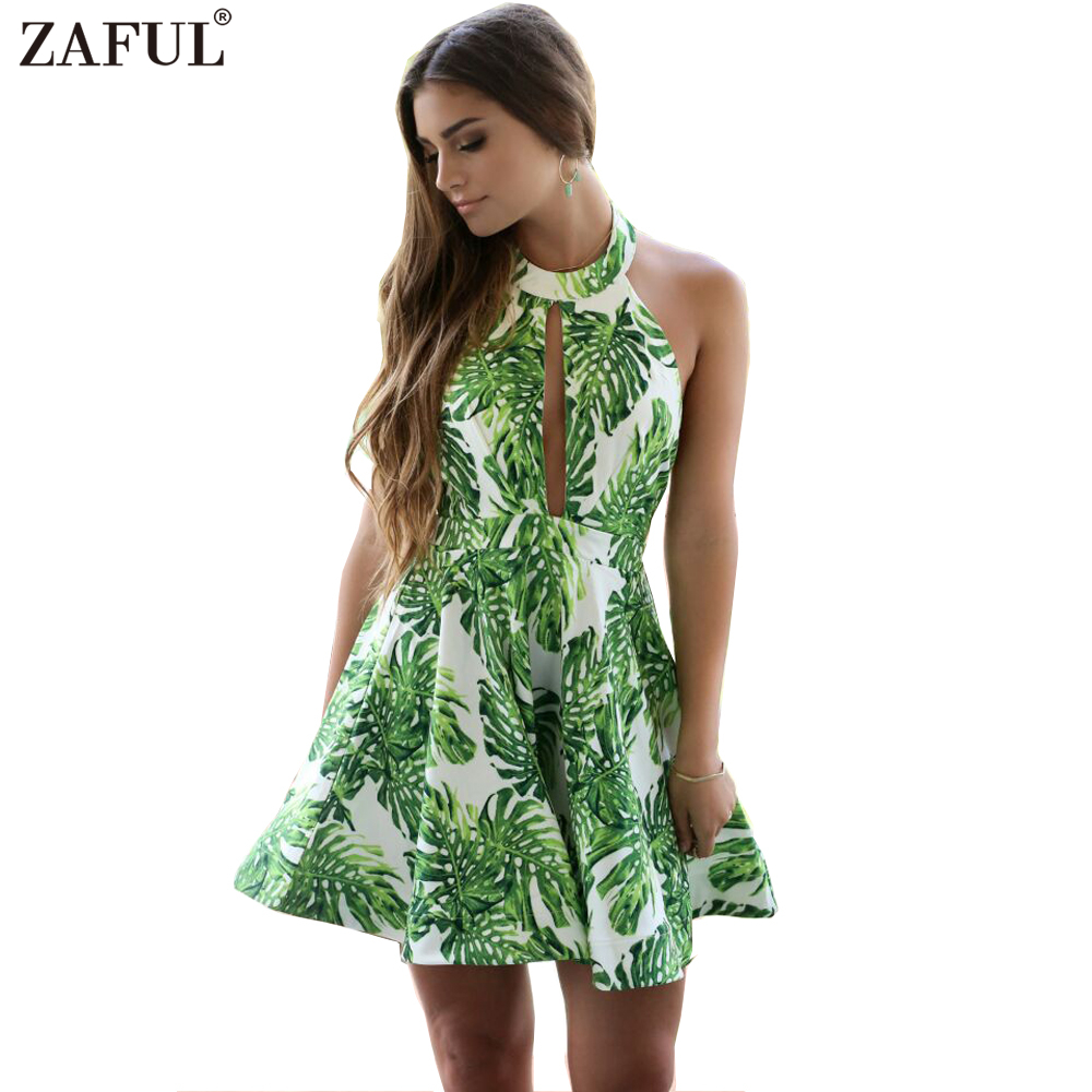zaful beach summer women dress 2017 high neck green leaf print dress sexy key collar backless. Black Bedroom Furniture Sets. Home Design Ideas