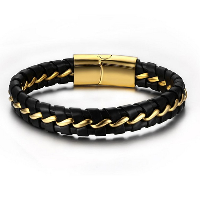 Fashion Stainless Steel Gold Color Knitted Magnetic Clasp Bracelet Man Black Leather Bracelets Bangles Jewelry