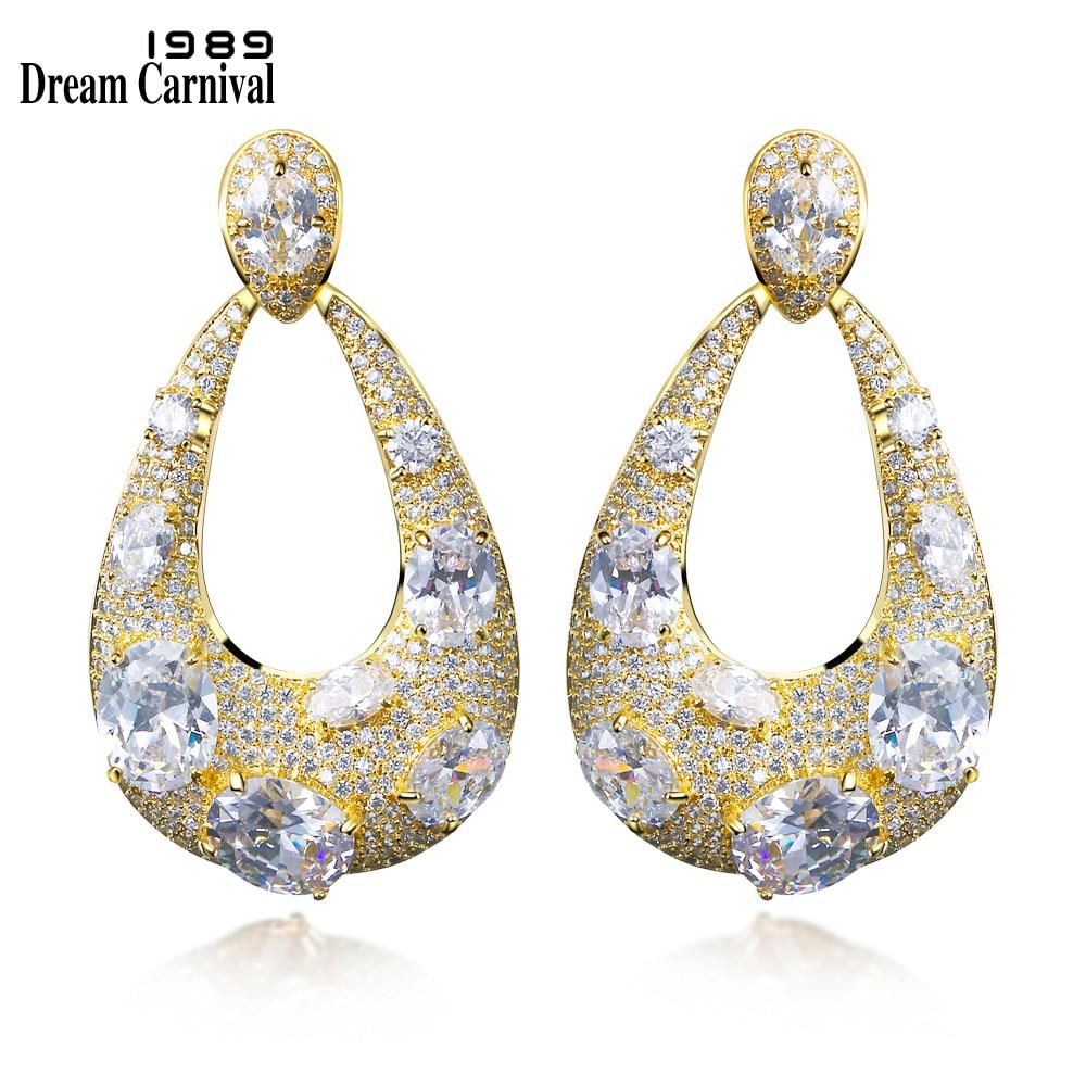 DreamCarnival 1989 Luxury Design Big Pebble Stones Gold Color Long Dangle Red Purple Wedding Earings Fashion Jewelry SE11964G