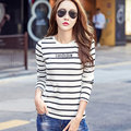Coreano Delgado Negro Raya Blanca Camiseta Mujer Tops Camisetas Largas Impresión de la Letra de la manga Joker Camiseta Femenina Camisetas de Moda Más Tamaño