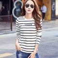 Korean Slim Black White Stripe Tee Shirt Women Tops Tees Long Sleeve Letter Print Joker T-Shirt Female Trendy T Shirts Plus Size