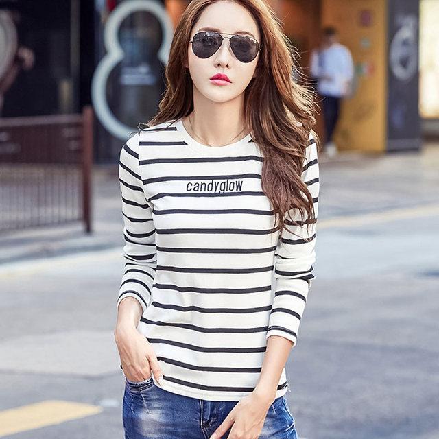 76c5f11e2e3 Korean Slim Black White Stripe Tee Shirt Women Tops Tees Long Sleeve Letter  Print Joker T