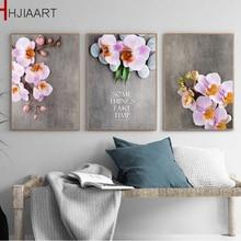 Vintage decoración del hogar estética hermosa orquídea lienzo flor pintura sin marco pared arte cartel para decoración para sala de estar