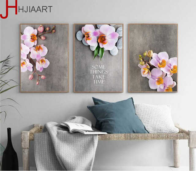 Vintage Home Decoration Aesthetic Beautiful Orchid Canvas Flower Painting No Frame Wall Art Poster For Living Room Decor Painting Calligraphy Aliexpress