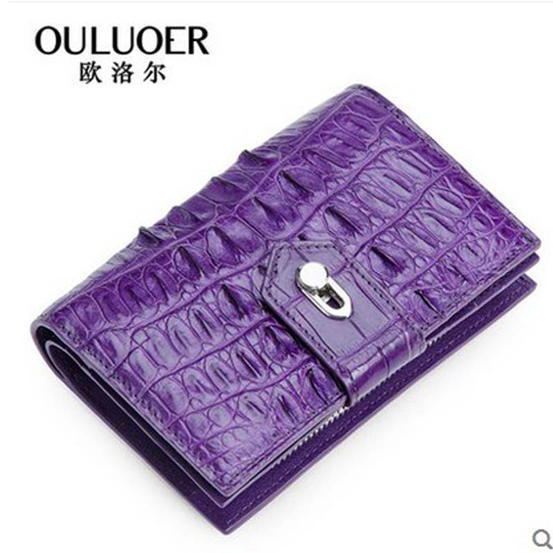 ouluoer Alligator skin lady short hand bag with a bag of multiple CARDS in the real leather purse 2018 new zero wallet. the little old lady in saint tropez