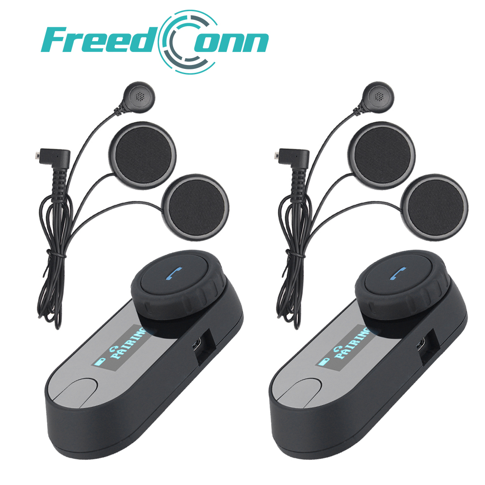FreedConn TCOM-SC Bluetooth Motorcycle Intercom Headset With LCD Screen FM Radio Soft Microphone for Integral/Full Face Helmet