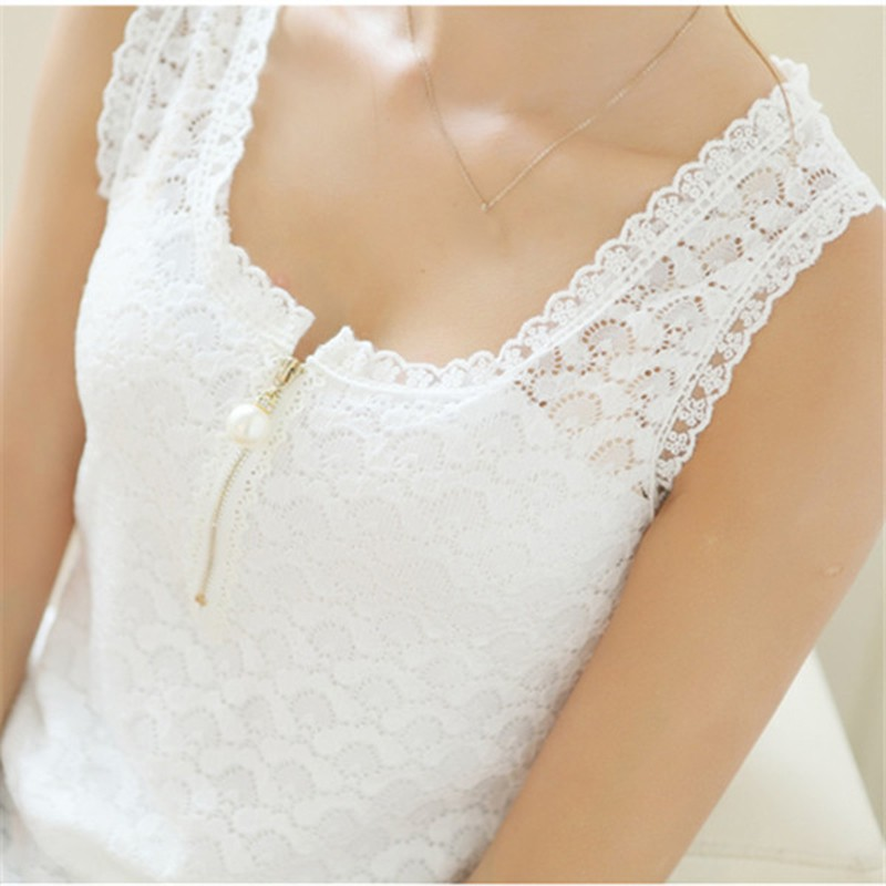 002c90f2131442 Sleeveless Womens White Chiffon Blouse Female Tunic Floral Lace Tops Blusas  Mujer 2018 Summer Ladies Causal