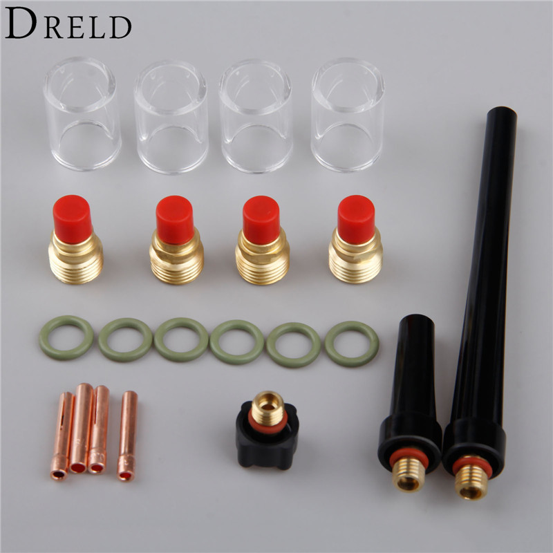 49Pcs tig welding torch stubby gas lens glass cup kit for wp-17//18//26 XJ