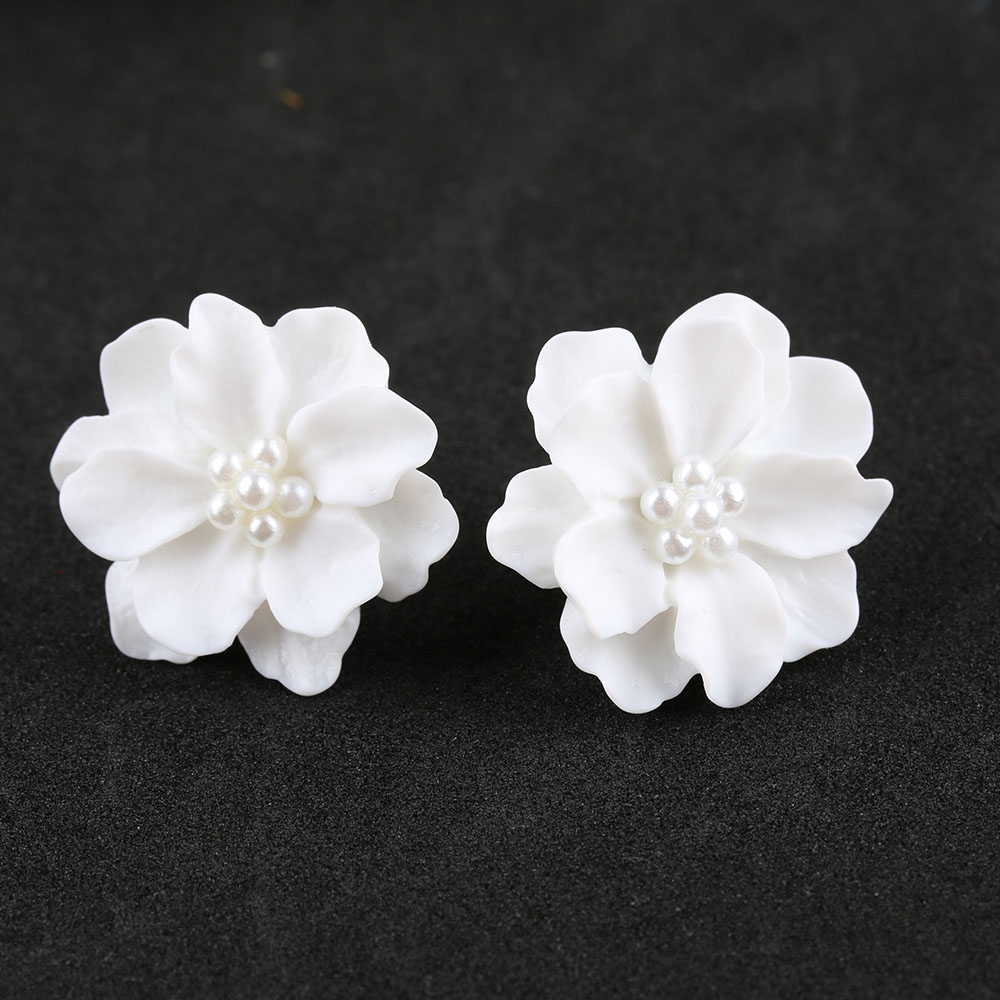 1 Pair New Fashion Big White Flower Earrings For Women -1550