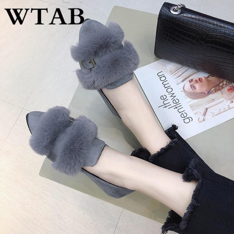 Bout Femmes Dames Wtab Appartements Base 2018 Chaussures Sur Pointu kaki Court New De Peluche Boucle Hiver Slip Peu Troupeau Noir Profonde En gris Laine W7R0q