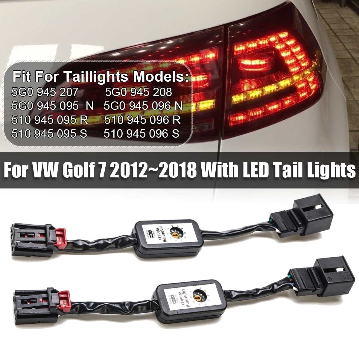 2Pcs Black Dynamic Turn Signal Indicator LED Taillight  Add-on Module Cable Wire Harness For VW Golf 7 Left & Right Tail Light