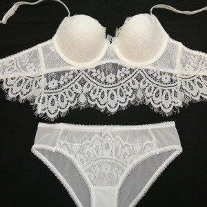 Image 4 - Bra+Panties+Garter 2017 new Lace Bra Set panties Girls Sexy Lingerie women Underwear Set Bra & brief Sets push up Set