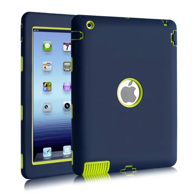 For iPad 2 Rugged Cases Shockproof Hybrid Three Layer Armor Defender Full Body Protective Case Cover for iPad 2 3 4 6Colors for amazon 2017 new kindle fire hd 8 armor shockproof hybrid heavy duty protective stand cover case for kindle fire hd8 2017