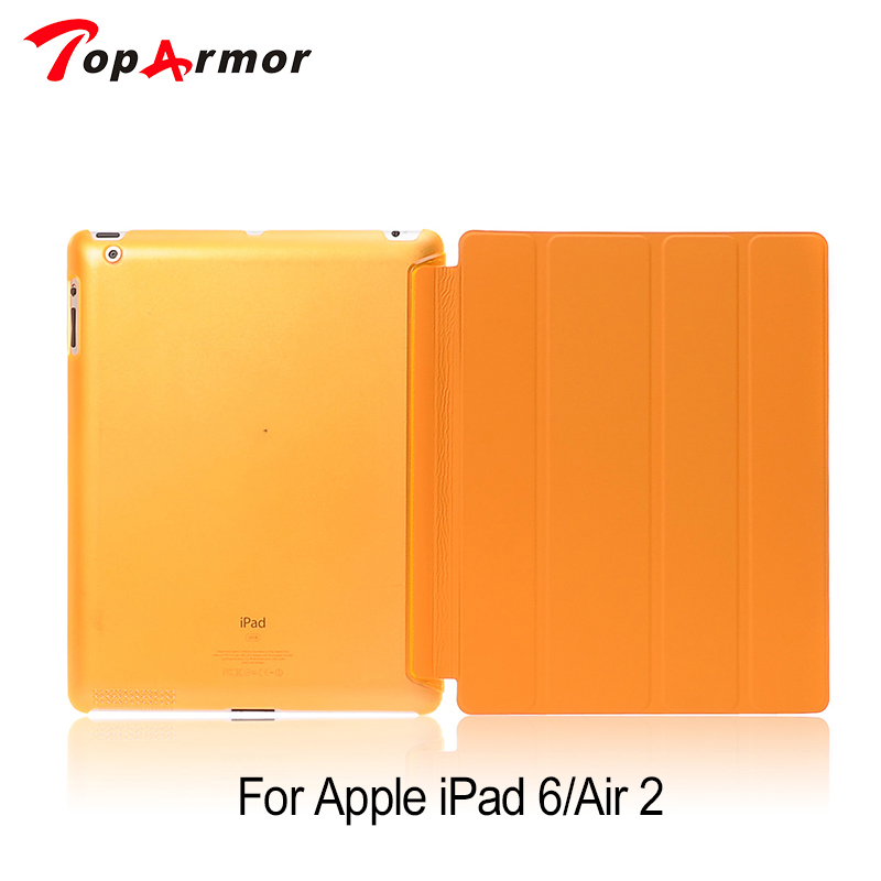 TopArmor Luxury Shockproof Leather Smart Flip Tri-fold 360 Full Protective Cover Slim Stand Tablet Case Shell for iPad Air 2