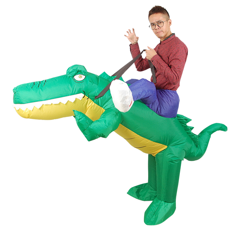 Onesies Inflatable Crocodile Costume Ride on Alligator Animal Cosplay Suits Blow Up Adult Fancy Dress for Halloween Carnival manguera expandible