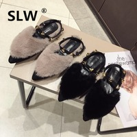 flock fur sandals metal rivets studs fashion warm fluffy slides female luxury mules shoes 2019 new hot sale slippers woman
