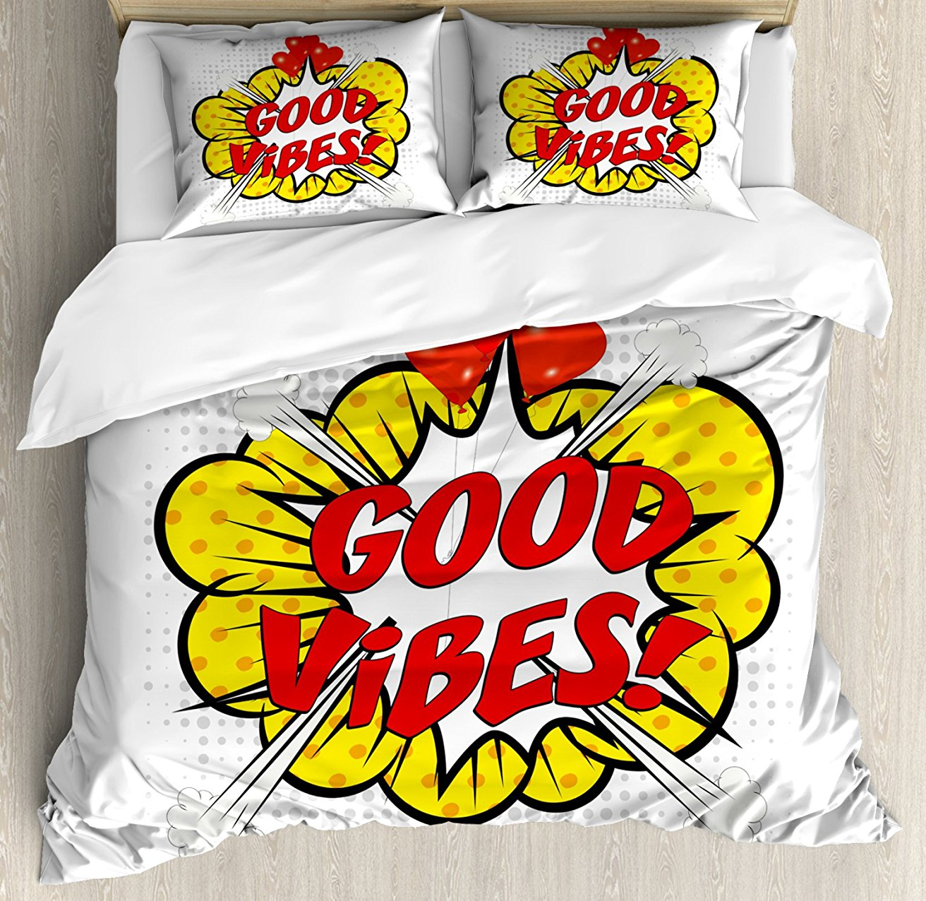 Good Vibes Duvet Cover Set, Pop Art Comics Icon Retro Style Quote Red Hearts Hipster Cartoon Message, 4 Piece Bedding Set