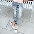 Характер свободные рваные джинсы для подростков большие девочки дети джинсы одежда новая мода девушка 2017 весна детей середине джинсовые брюки
