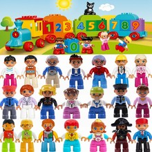 Single Sale Legoing Duplo Figures Family Member Worker Police Animal Train Building Blocks Bricks Education Toys Baby Kids Gifts(China)