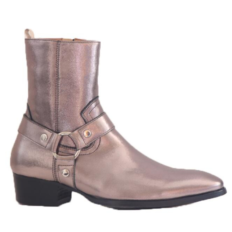 Wedge Skinny Dress luxury buckle strap handmade genuine leather Boots luxury color customized made boots 4cm heel