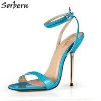 Sorbern Blue Patent Leather Sandals Summer Shoes Women Metal High Heels Opne Toe Ankle Straps Custom