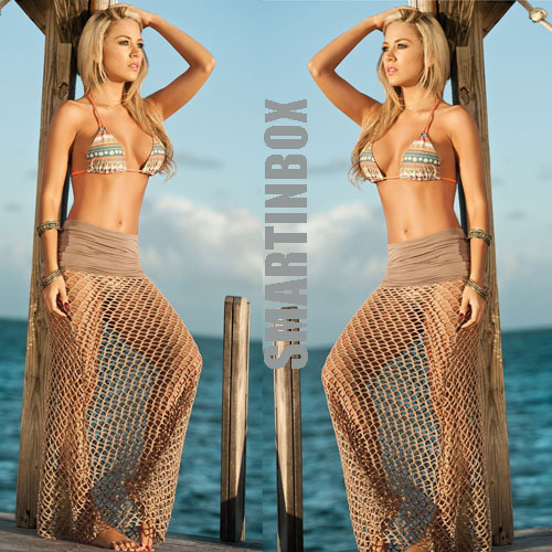 d12e51cc59 New Beach Wear Brown Tan Crochet Beach Skirt Swimsuit Bikini Cover Up  Bottoms Pareo Sarong