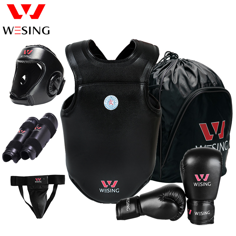 Wesing Sanda Protective Gears 6 pcs Set for Professional Athletes Sports Equipment Boxing Gloves Head Shin Groin Chest Guard PU wesing boxing kick pad focus target pad muay thia boxing gloves bandwraps bandage training equipment