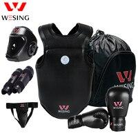 Wesing Sanda equipo de Protección 6 unids Fijado para Los Atletas de Deportes de Equipo de Boxeo Profesional Guantes Cabeza Shin Ingle Guardia Pecho PU