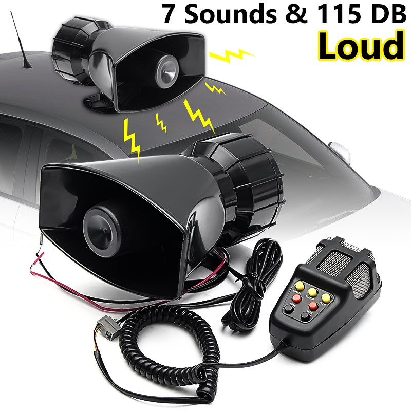 New 12V 115db Loud Air Horn Siren For Car Boat Truck 7 Sounds PA System w/Mic