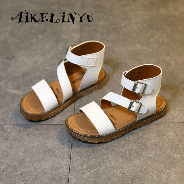 2018 New Summer Children Gladiatus Sandals Girls Casual Flat Sandals Fashion  Korean Girl Student Rome Shoes Kids Big Girl Shoes 078b34a94d60
