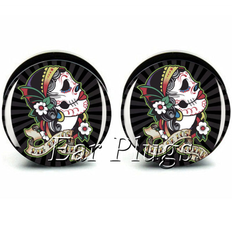 1 Pair day of the dead ear plug gauges tunnel acrylic screw flesh tunnel body piercing jewelry PAP0375
