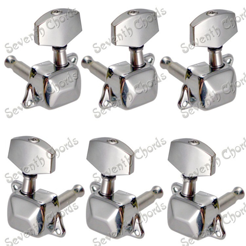 A Set Chrome Semiclosed Guitar String Tuners Tuning Pegs keys Machine Heads for Acoustic Guitar Replacement цены
