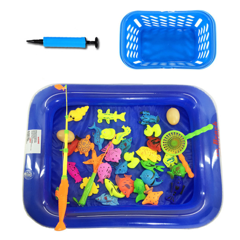 35 Pcs Inflatable Pool Magnetic Fishing Toy Set Beach Pool Summer Outdoor Toys Children Fishing Toys Children Gifts