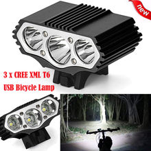 12000 Lm 3 x T6 LED 3 Modes Bicycle Lamp Usb Rechargeable Bike Light Headlight Cycling bike accessories bicicleta H0046(China)