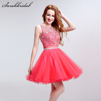 Sequined jewel Homecoming Dresses Sleeveless Tulle Graduation Dress Mini Girls Dresses Bow Waist Sash Prom Dresses LSX191