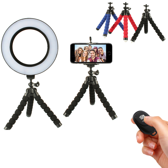 Selfie Ring Light with Wireless Remote Tripod for YouTube Makeup Mini Led Camera Ringlight Phone Clip Huawei Mate 30 Lite