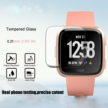 1/2 個hd強化画面のガラスプロテクターフィルムfitbit versaスマート腕時計アクセサリー 9h 2.5Dプレミアムスクリーンプロテクター