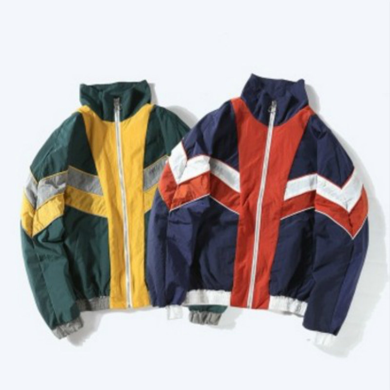 Gkgz Men Jackets Clothing Vintage Multicolor Colour Block Patchwork Wind Jackets Autumn Hip Hop Streetwear Neutral Casual Jacket