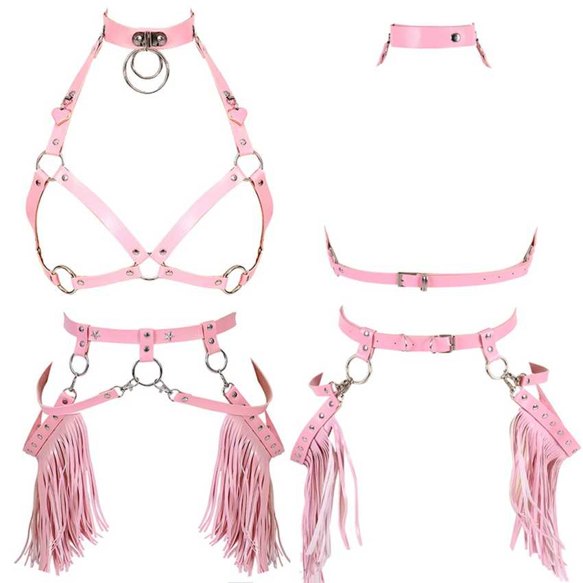 Harajuku Boho Tassel Pink Leather Harness Bra Women Stockings Garter Belt Strappy Top Cage Plus Size Lingerie set Rave Festival