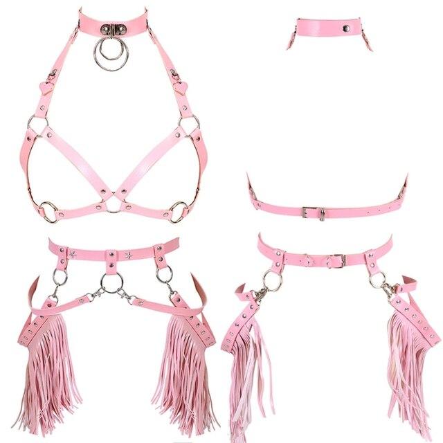 Harajuku Boho Tassel Pink Leather Harness Bra Women Stockings Garter Belt Strappy Top Cage Plus Size Lingerie set Rave Festival
