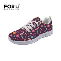 FORUDESIGNS Women Espadrilles Cartoon Medical Nurse Cute Pattern Flat Casual Shoes Breathable Mesh Sneakers Female Zapatos Mujer