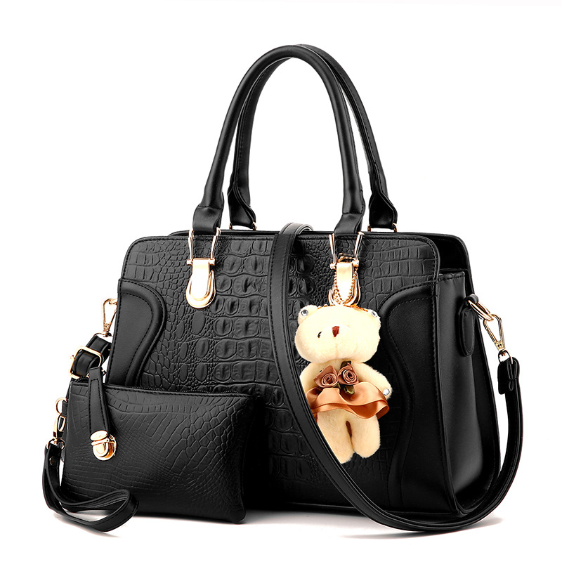 2 pcs/Bag Famous Brand Women Patchwork Bag Top-Handle Handbags Crocodile Women M