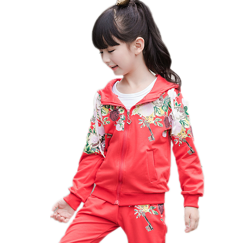 girls tracksuits 2017 new toddler girl clothes sets floral prited hooded fleece+pants children clothing girls sports wear 4-11T