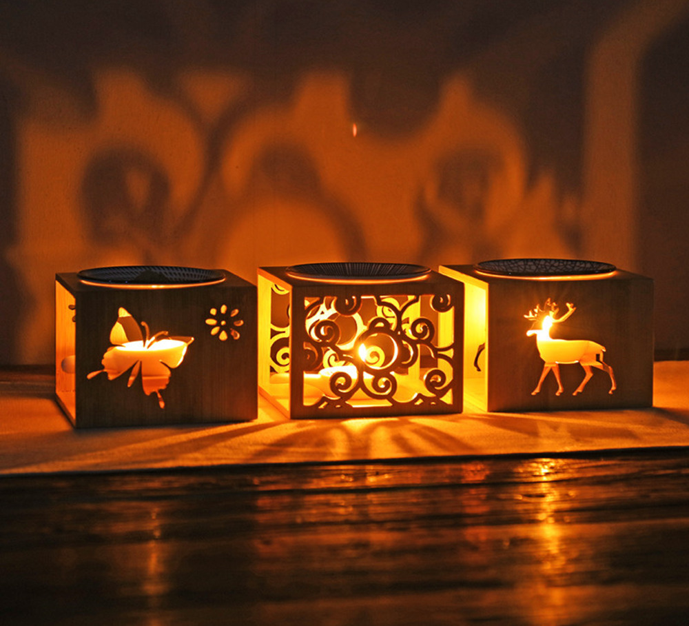Image 2 - Bamboo Wood Hollow Fragrance Lamp Oil Furnace Aroma Burner Candle Holder Candlestick Vase Romantic Crafts Gifts Home DecorationIncense & Incense Burners   -